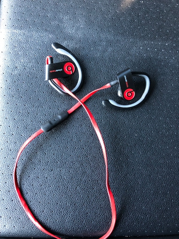 Used Black and red power beats by dr. dre earphones for sale in ...
