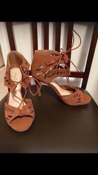 Pair of brown leather open toe ankle strap sandals Hudson, 01749