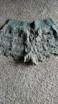 gray floral lace shorts