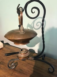 Antique Copper Tea pot heater forged Iron stand burner coffee