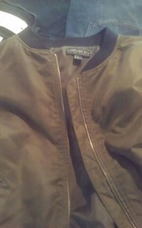 black and gray Forever 21 zip-up jacket