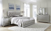 Gray/mirrored casual style modern 5pcs bed set Springfield