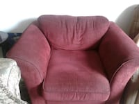 red fabric padded sofa chair Scarborough, M1E