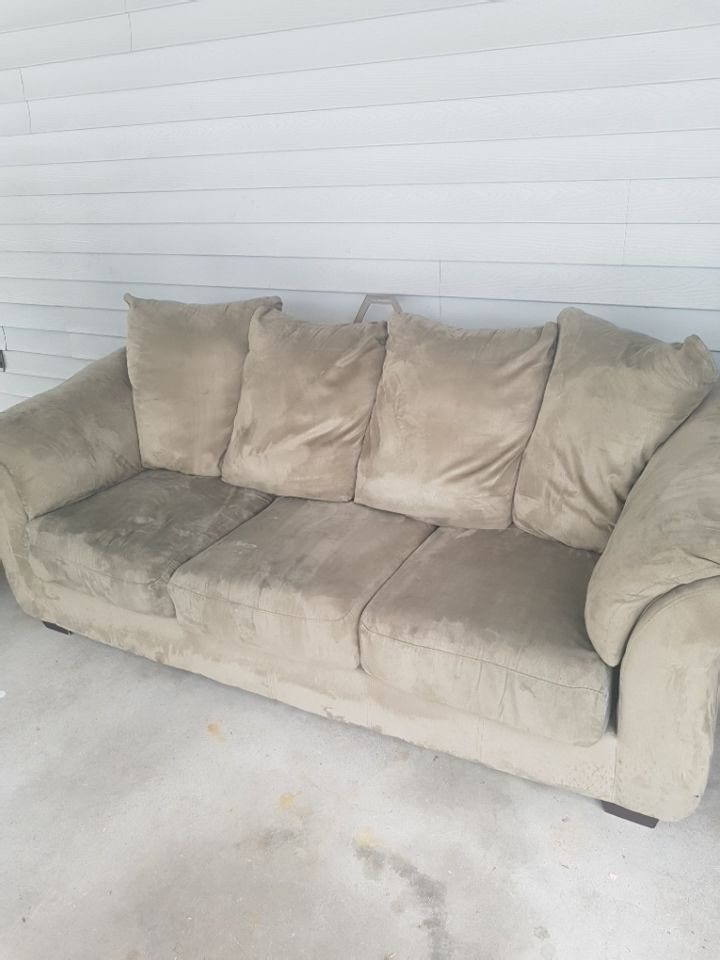 Green micro suede 3-seat couch