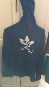 blue and white Adidas Original pullover hoodie London, N5V 3L9
