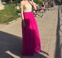 Pink & Gold Prom Dress Size Small