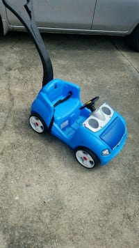 blue and white car ride on toy