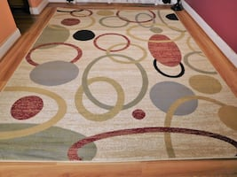 Cream Area rug NEW Modern Circles Retro