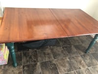 Rectangle Dining Table With 6 chairs. Wood with dark green accents  Great refinishing project too! 75x42 Chantilly, 20152