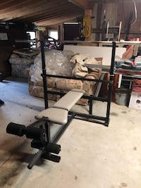 Olympic Bench, bar and plate rack 281 mi