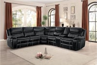 Bastrop Black Leather Gel Power Reclining Sectional  1201 mi