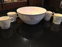 White tom and jerry ceramic bowl with mugs (one mug different). Boonsboro, 21713