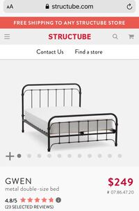 Structube Gwen Double Metal Bed Frame Toronto, M4Y 1N4