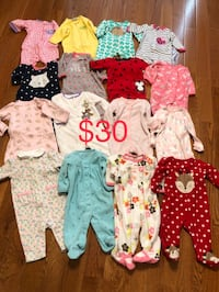 16 Pcs Baby Girl Sleeper Sleep And Play Outfit/Clothes Newborn/0-3 Months  2 are newborn size and the rest are 0-3 months  Most are Carter's brand, couple are Gerber and one Ralph Lauren  All 16 pieces are $30. Price is firm. Cash at pickup in Apex. Holly Springs, 27539