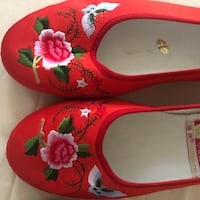 Embroidered floral satin Chinese flat ballet slip-on shoes.  Herndon, 20170