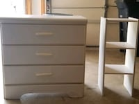white wooden 3-drawer chest with a bedside shelf Bowie