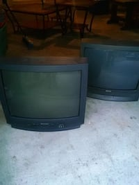 black CRT TV with black wooden TV stand Fort Wayne, 46815