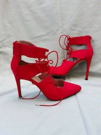 red leather open toe ankle strap heels South Riding, 20152