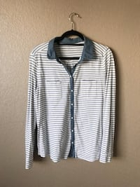 white and black striped button-up long-sleeved collared shirt Scottsdale, 85259