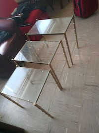 3 small glass tables