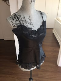 Women's black lace spaghetti strap top