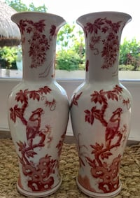 White and red floral ceramic vases Hollywood, 33021