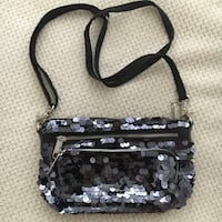 VS PINK Black Sequenced Purse w Straps  Vaughan