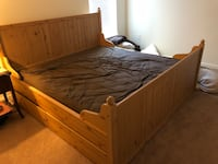 King Size Bedframe with drawers! Four in total.  72 mi