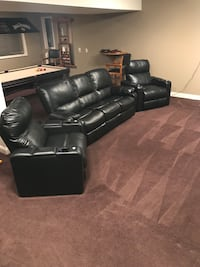 3-piece theater black leather motor controle chairs 2 each plus recliner couch. Franklin, 37067