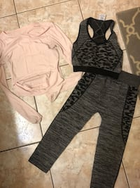 3 piece workout outfit Active Pro Sz s/Medium Capris, matching sports bra only worn one time and pink top used San Antonio, 78232