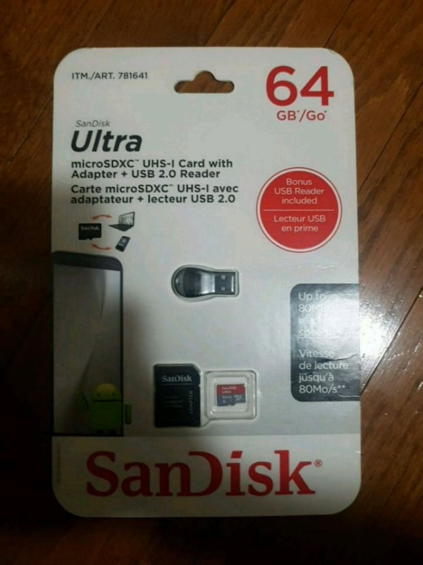 SanDisk 64 GB micro sd card with adapter 0