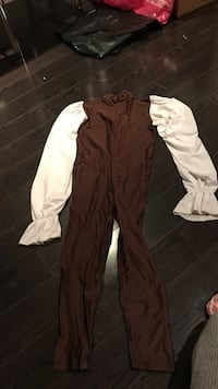 brown and white long-sleeved overalls