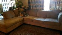 brown fabric sectional sofa with throw pillows Sherwood Park, T8A 5A7