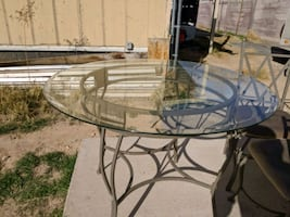 Glass round table 4 chairs