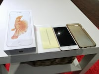 rose gold iPhone 6s Plus with box and gray case