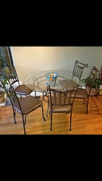 Wrought Iron and Beveled Glass Round Table with Chairs Richmond, V7A 1H2