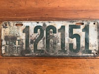 Antique 1920 Ontario License Plate, Code Of Arms Garage Sign Ottawa, K0A