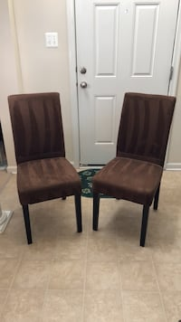 two brown wooden framed black leather padded chairs Upper Marlboro, 20772