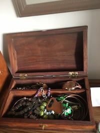 Jewelry box/ chest with gold plate for engraving on top