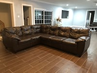 brown leather sectional sofa with ottoman 809 mi