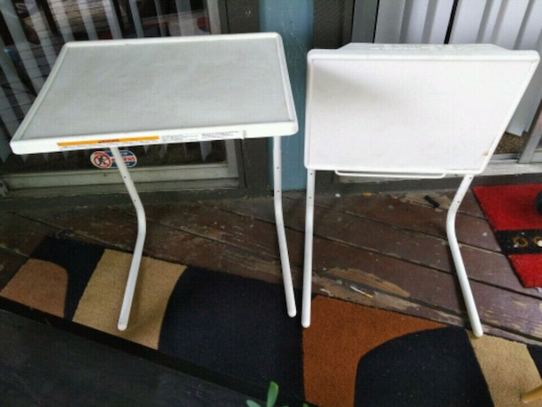 Used Two White Wooden Folding Tables