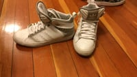 White-and-gray adidas high-top sneakers