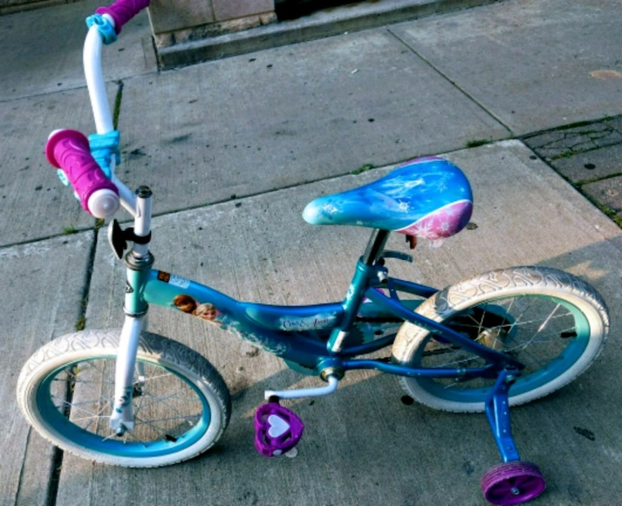 toddler's blue and pink bicycle with training wheels for sale  New York
