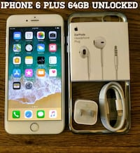 Silver Iphone 6 Plus 64GB UNLOCKED w/ Accessories  Arlington