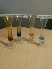 """Fluted shot glasses.7"""" tall...set of 4 Vaughan"""