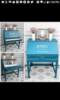 blue wooden single-drawer end table Toronto, M5R 3S3