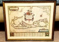 Framed Vintage Print of Bermuda in 1630 43 km