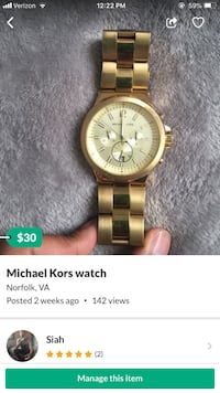 round gold Michael Kors chronograph watch with gold link bracelet Norfolk, 23504