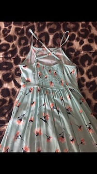 women's teal and pink floral spaghetti-strap dress