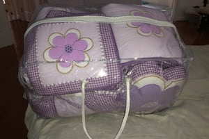 Crib bedding with quilt, bumper, skirts, etc.